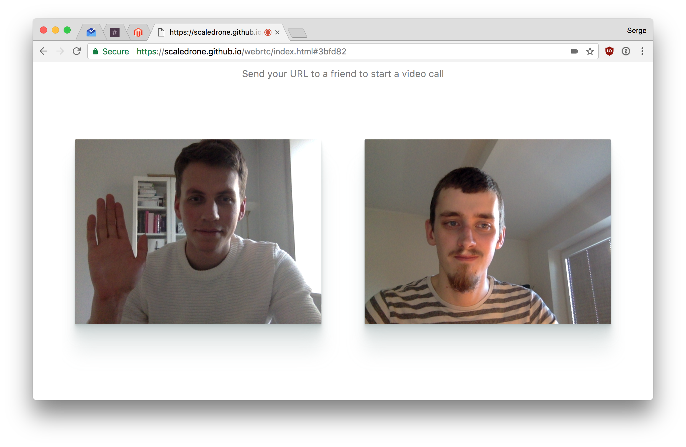 WebRTC Tutorial: Simple video chat